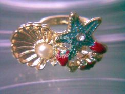 ABRGM-S001 Unique Starfish Shell Crab Bead Ring
