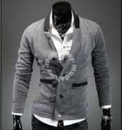 Fantastic Stand Collar Knitted Cotton Coat (Grey)