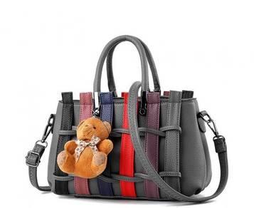 Colourful Korean Weaving Fashion Bag Dark Grey