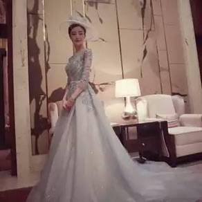 Blue party prom wedding bridal maxi dress RBP0096