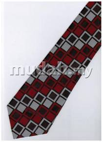 ER18 Red Silver Black Box Striped Formal Neck Tie
