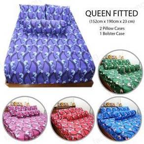 FB162 Flower design Queen Fitted Bedsheet