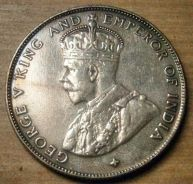 1920 Straits Settlements 50 cents Silver Coin
