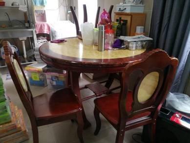 Set meja makan + 5 kerusi