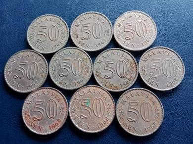 Duit Syiling 50 Sen 1967 & 1968 (10 pcs Set C)