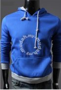 Simple Pullover Hooded Men Sweater Jacket (Blue)