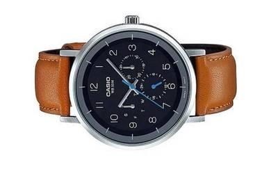 Casio Men Multi Hands Leather Watch MTP-E314L-1BVD