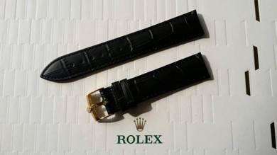 ROLEX 19 mm Black Leather Watch Strap