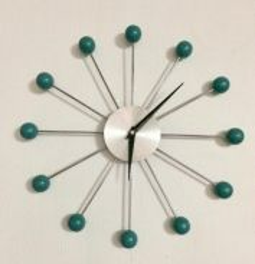 Retro Atomic Wooden Ball Wall Clock