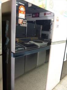 0%gst New TOSHIBA GlasDoor Refrigerator GR-HG52MDZ