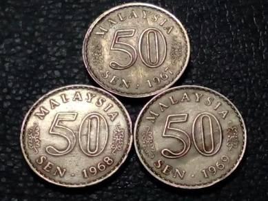 1967,1968,1969 MALAYSIA 50sen (VF) set#C