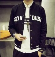 374 Black Varsity Man Slim Baseball Jacket Sweater
