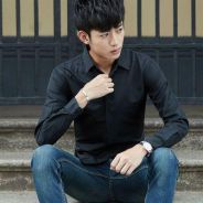570 Black Classic Plain Formal Long Sleeved Shirt