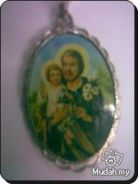 ABPSM-C004 Silver Enamel Pendant Necklace Catholic