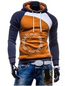 Trendy Slanted Hoody Slim Fit Sweater (Brown Blue)