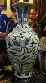 Chinese antique blue white porcelain vase SLG