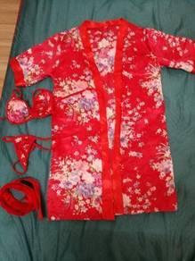 Sexy kimono robe nightwear sleep wear set lingerie