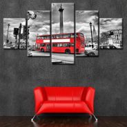 Red Bus In London Canvas Art Set