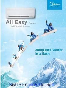 Midea 1.0hp All Easy Aircond + Install