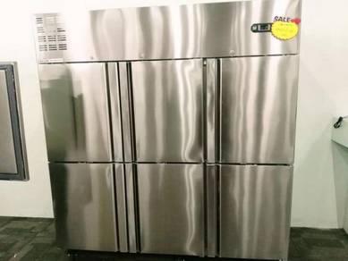 New stainless steel upright 6 solid door chiller