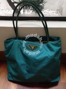 Turquoise Nylon Prada Tote Bag