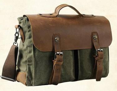 Army Green Retro Briefcase Casual Porter Sling Bag