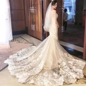 White fishtail mermaid wedding bridal dress RB0951