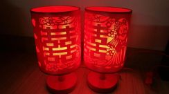Red Wedding Lamps One Pair