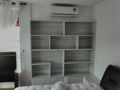 Custom made bookshelf & side table