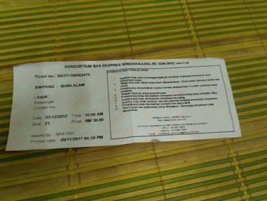 Tiket Bas Ekspres Simpang ke Shah Alam