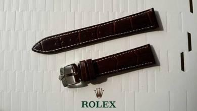 ROLEX 19mm Brown Crocodile Leather Watch strap