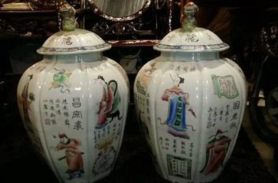 Chinese antique pair ginger jar vase handpaint SLG