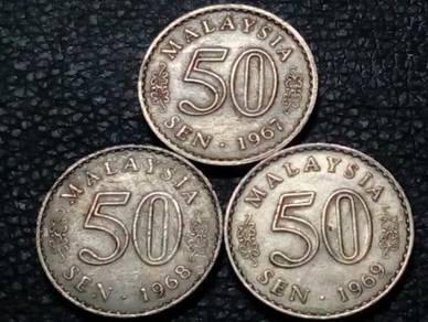 1967,1968,1969 MALAYSIA 50sen (VF) set#E