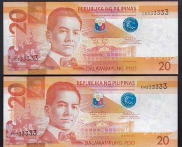 Philippines 20 Peso solid CD & FH #333333 UNC