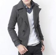 363 Grey Winter Double Breasted Coat Suit Jacket