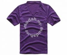 Spring V Neck Short Sleeve Slim T Shirt (Purple)