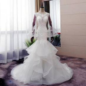 White mermaid wedding bridal dress gown RB0953
