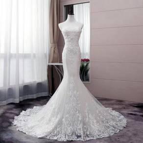 White mermaid wedding bridal dress gown RB0955