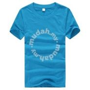 Summer Round Neck Short Sleeve T Shirt (Blue)