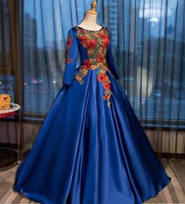 Muslimah red blue pink green wedding dress prom