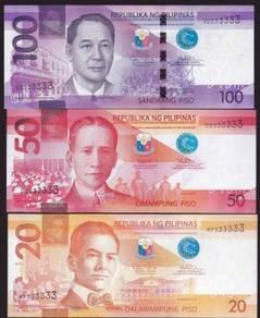 Philippines 20, 50, 100 Pesos Solid #333333 UNC