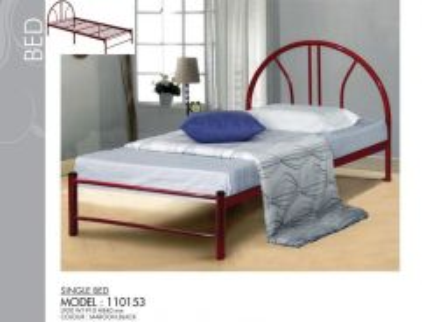 Single Bed BLACK MAROON