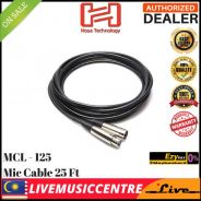 Hosa MCL-125 Microphone Cable, XLR3F to XLR3M, 25f