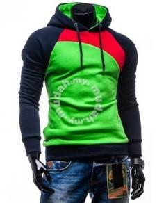 Trendy Slanted Hoody Slim Fit Sweater (Green)