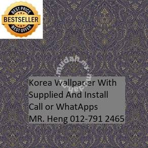 Pretty Wallcovering with Installation dftr656