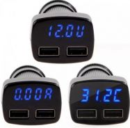 4In1 3.1A usb car charger with led display