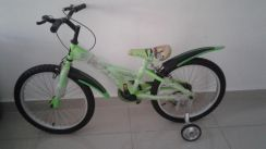 Bicycle with support wheels for ages 6 to 11