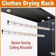 Ceiling Mounted Lifting Hanger Clothes Rack 240cm