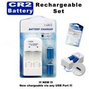 CAIUL CR2 Rechargeable Battery Pack Charger Set