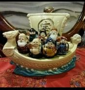 Chinese vintage porcelain immortals on boat SLG